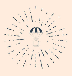 Black box flying on parachute icon on beige vector