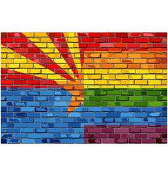 Brick wall arizona and gay flags vector