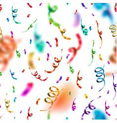 bright colorful confetti and serpentine on white vector image