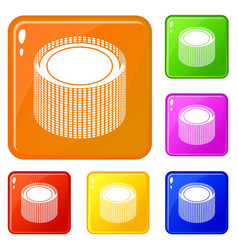 Building roll net icons set color vector