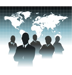 Businessman team in front of world map vector image