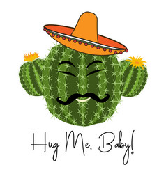 Cactus print with funny cactus in vector