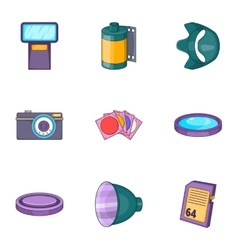 Camera icons set cartoon style vector