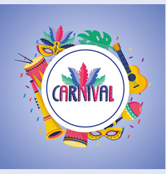 carnival label with mask and drum decoration vector image