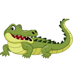 Cartoon crocodile isolated on white background vector