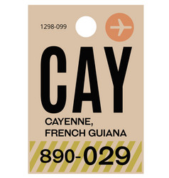 Cayenne airport luggage tag vector