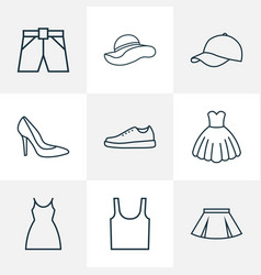 clothes icons line style set with skirt sneakers vector image