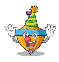 Clown spinning top mascot cartoon vector
