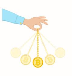 Coin swing like a pendulum vector