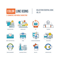 Color thin line icons set vector