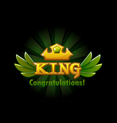 Congratulations and rewarding golden crown and vector