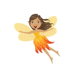 Cute Fire Fairy Girly Cartoon Character vector