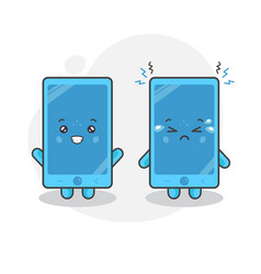cute phone characters happy and sad expression vector image