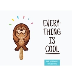 Cute seal popsicle ice cream vector image