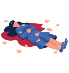 Dead woman on white vector