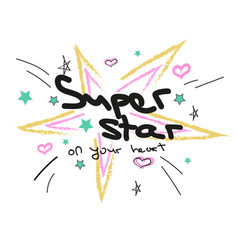doodle stars and hearts and text in pastel colors vector image