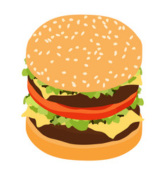 double hamburger classic burger american vector image