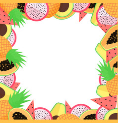 Exotic fruit frame with papaya avocado pineapple vector