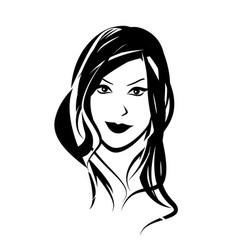 face woman in black color vector image
