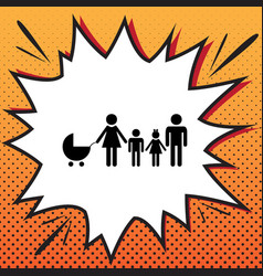 Family sign comics style vector