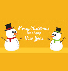 Flat snowmans greating card vector