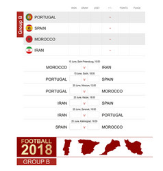 football 2018 group b match schedule all vector image