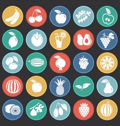 fruits set on color circles black background vector image