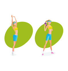 girl does various exercises makes perfect result vector image