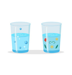 Glasses with pure and dirty water vector