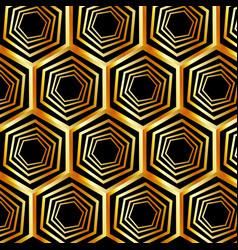 golden hexagonal optical illusion vector image