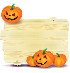 Halloween signboard with pumpkin vector
