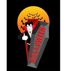 Halloween typography Dracula in his coffin Logo vector image