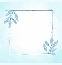 hand drawn blue leaf frame on watercolor blue vector image