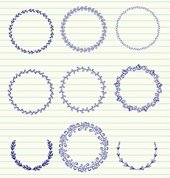 Hand sketched wreaths vector