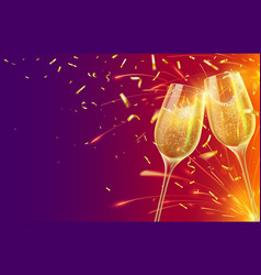 happy new year with champagne glasses festive vector image