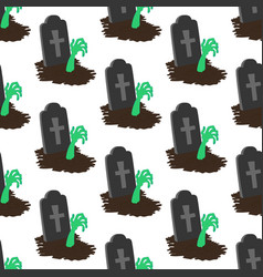 Headstone and zombie hand pattern vector