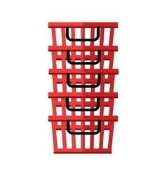 Heap of red shopping baskets vector