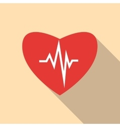 Heartbeat icon flat style vector