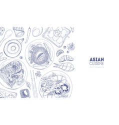 Horizontal backdrop with asian cuisine meals and vector