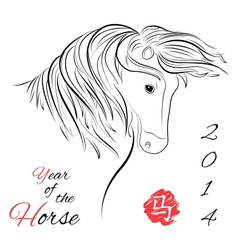 Horse on white background vector image