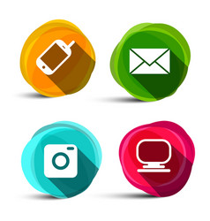 icons set camera phone computer and e-mail vector image