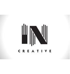 in logo letter with black lines design line letter vector image