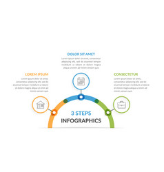 Infographic template with three elements vector