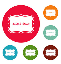 Just married label icons circle set vector
