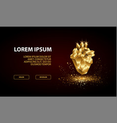 Landing page template with low poly golden heart vector