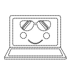 Laptop with sunglasses kawaii icon image vector
