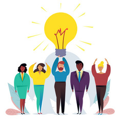 Light bulb people work in a team and achieve the vector