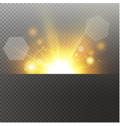 light highlight yellow special effect with rays of vector image