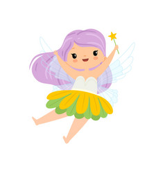 lovely little winged fairy with long lilac hair vector image