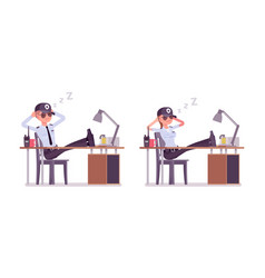 Male and female security guard resting at work vector